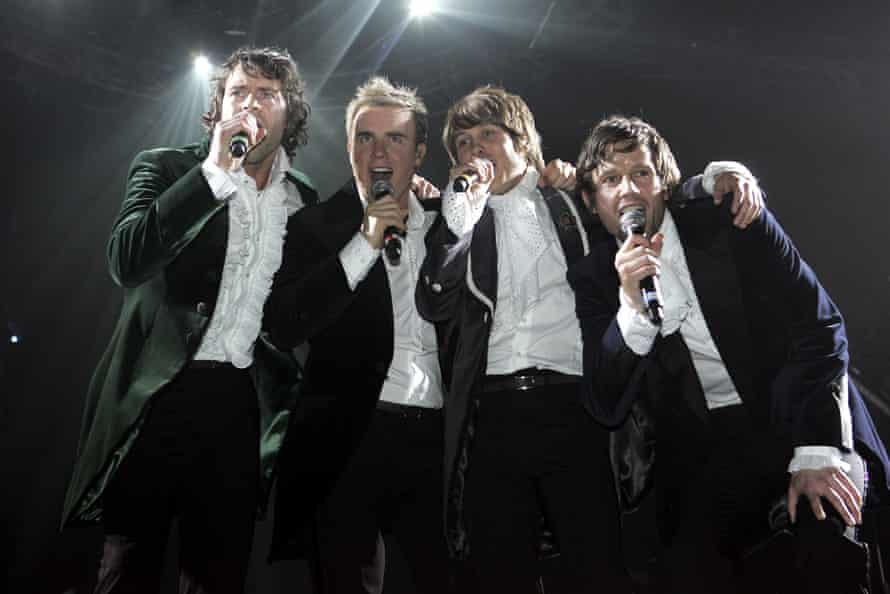 (From left) Howard Donald, Gary Barlow, Mark Owen and Jason Orange on stage at the band's opening night of their Ultimate Tour 2006 in Newcastle-upon-Tyne.