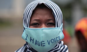 Indonesian human right activists hold a rally to celebrate international women's day in 2016.