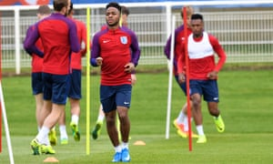 Raheem Sterling training at Chantilly, where England are now preparing for the knockout stages of Euro 2016.