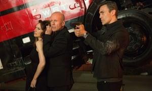 Claire Forlani, Bruce Willis and Daniel Bernhardt in Precious Cargo.
