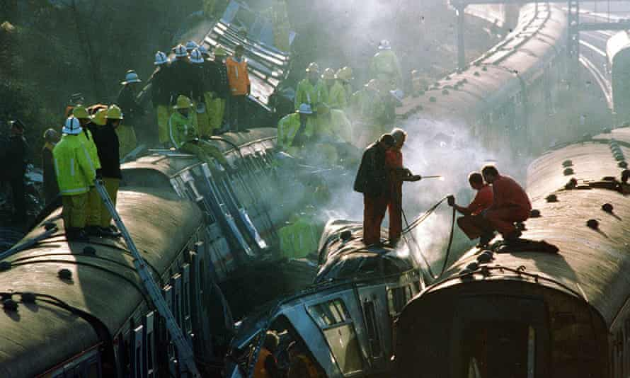 The scene near Clapham Junction station following the 1988 rail crash