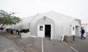 A tent for homeless people, run by the Alpha Project, in San Diego.