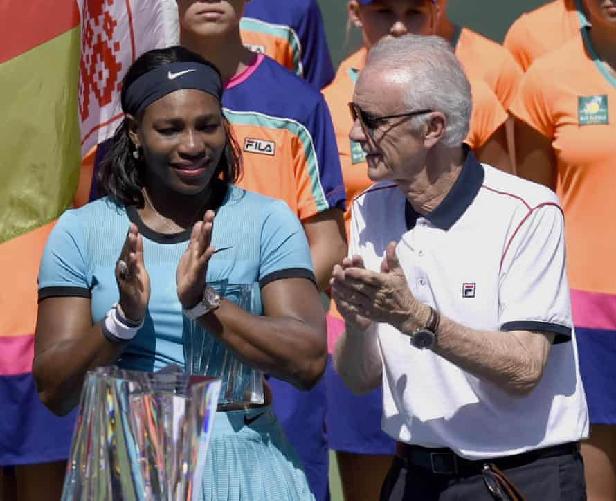 Serena Williams stands next to Raymond Moore during the trophy presentation after her defeat to Victoria Azarenka.