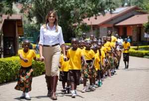 Nairobi, KenyaUS First Lady Melania Trump walks and sings with children as she visits the Nest Childrens Home Orphanage in Nairobi, on October 5, 2018, which primarily cares for children whose parents have been incarcerated.