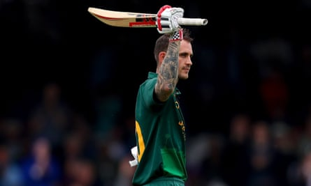 Alex Hales celebrates after scoring a century for Nottinghamshire against Surrey in the One-Day Cup final.