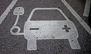 An electric car charging point. Demand for electric and plug-in hybrids has soared in the UK.