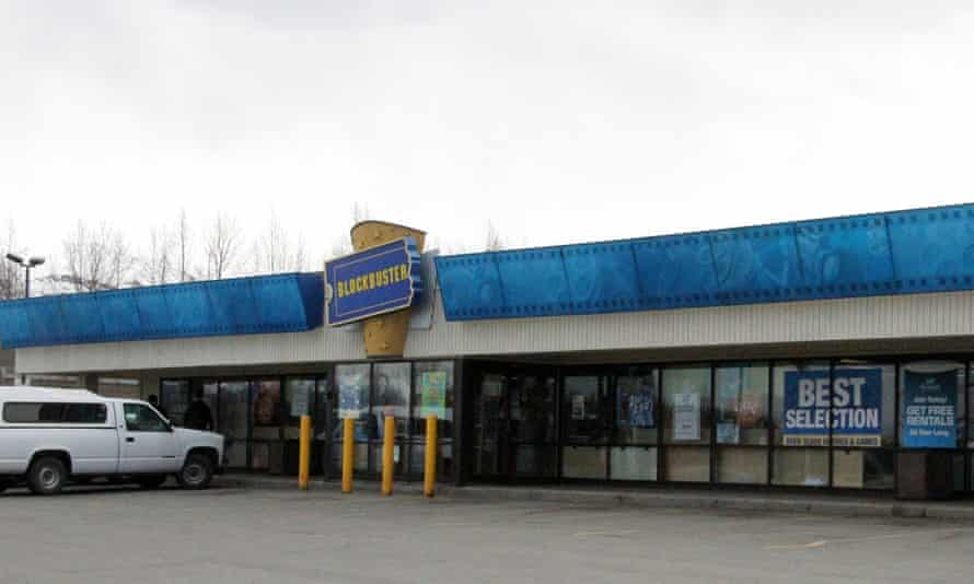 A Blockbuster video store, now closed, in Anchorage, Alaska