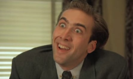 Nicolas Cage in the original scene of the You Don't Say meme, from the movie Vampire's Kiss (1988).