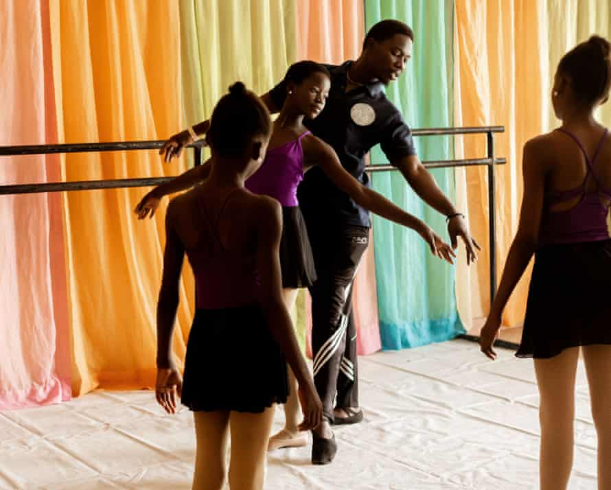 Daniel Ajala with his students at the Leap of Dance Academy in Lagos