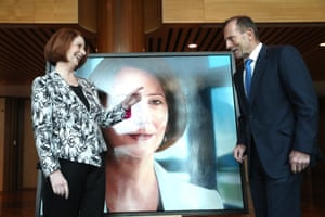 Canberra, AustraliaFormer Australian prime ministers Julia Gillard and Tony Abbott at the unveiling of her official portrait in parliament house in Canberra.