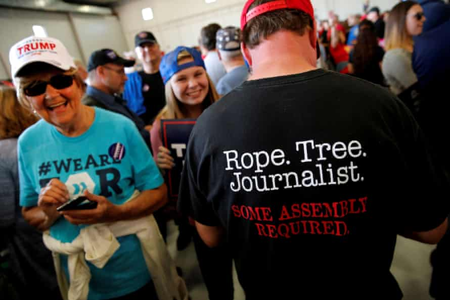 A man wears an anti-media shirt during a Donald Trump rally in 2016.