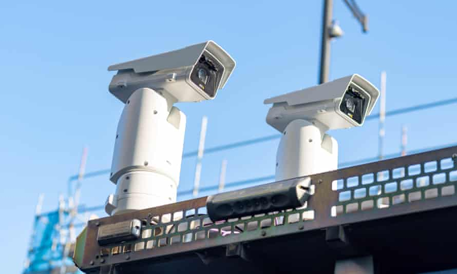 Facial recognition technology outside Romford Station.