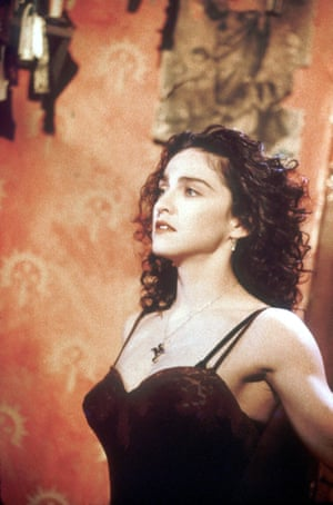 In the video for Like a Prayer in 1989.
