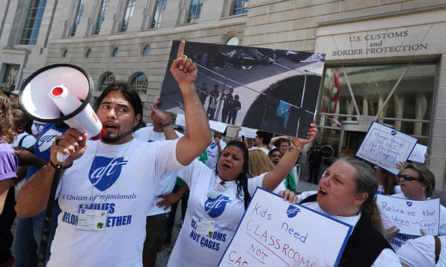Immigration activists in Washington protest against the planned immigration raids this weekend.