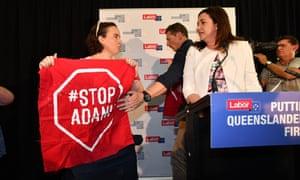 Anti-Adani coal mine protesters disrupt Queensland premier Annastacia Palaszczuk