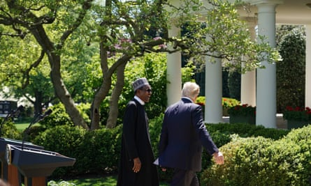 Donald Trump and Muhammadu Buhari at the White House. With regards to the alleged derogatory remarks about African nations Trump said 'we didn't discuss it'.