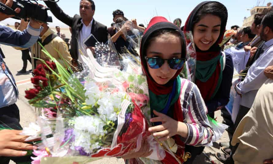 Fatima Qaderyan (pictured) and her team mates were celebrated when they returned to Afghanistan with silver medals from the international robotics competition.