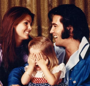 Elvis and Priscilla and their daughter, Lisa Marie, in about 1973