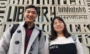 Zhang Fangming and Sun Jianglin at Beijing Foreign Studies University.