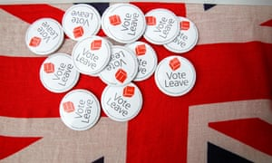 Vote Leave badges displayed at a rally before the referendum on the European Union