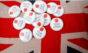 Vote Leave badges on a union jack flag
