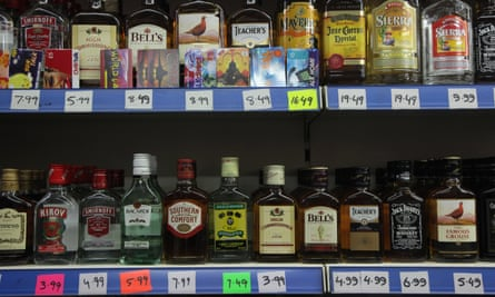 Alcohol bottles on shelf