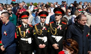 Large crowds gather for the Victory Day military parade in Minsk, Belarus.