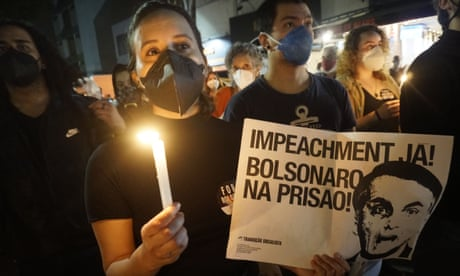 Protest Against Jair Bolsonaro, in Sao Paulo, Brazil - 26 Jun 2021<br>Mandatory Credit: Photo by Cris Faga/NurPhoto/REX/Shutterstock (12171294j) Demonstrators during a protest against Bolsonaro's administration on June 26, 2021 in Sao Paulo, Brazil. Brazilian president Jair Bolsonaro is facing a probe for pandemic mismanagement as the country counts over 500,000 deaths of COVID. The controversial decision to host the Copa America 2021 amid the coronavirus crisis is questioned by a large part of the population. Protest Against Jair Bolsonaro, in Sao Paulo, Brazil - 26 Jun 2021
