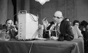 James McCord demonstrating some of the telephone bugging equipment that was used to the Senate Watergate committee in 1973.