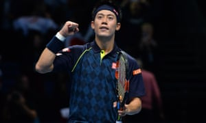 Japan's Kei Nishikori celebrates