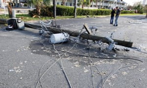 Damage from Hurricane Michael litters the streets in Marianna, Florida.