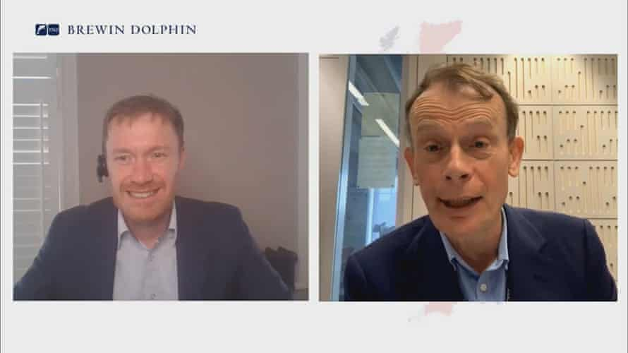 Andrew Marr interviewed on a Zoom call with wealth management company Brewin Dolphin.