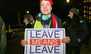 Those who voted to leave and are opposed to a second referendum turned out in London on Tuesday night to hear the result of the Commons vote.