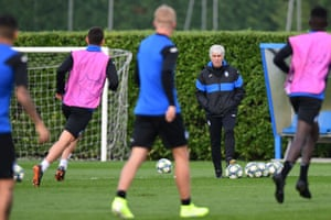 Atalanta's head coach Gian Piero Gasperini supervises a training session before his side's Champions League game against Manchester City in November 2019.
