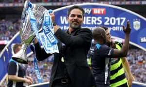 David Wagner with the trophy after  Huddersfield beat Reading in the Championship play-off final