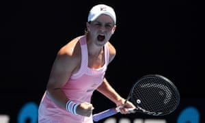 Ashleigh Barty produced a fearless, freewheeling display to overcome Maria Sharapova in three sets.