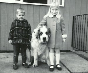 Pauline and Ted with their dog Pixie at their home in North Vancouver, 1969.