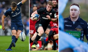 Left to right: Ross Byrne of Leinster, Nick Tompkins of Saracens and Glasgow's Rob Harley