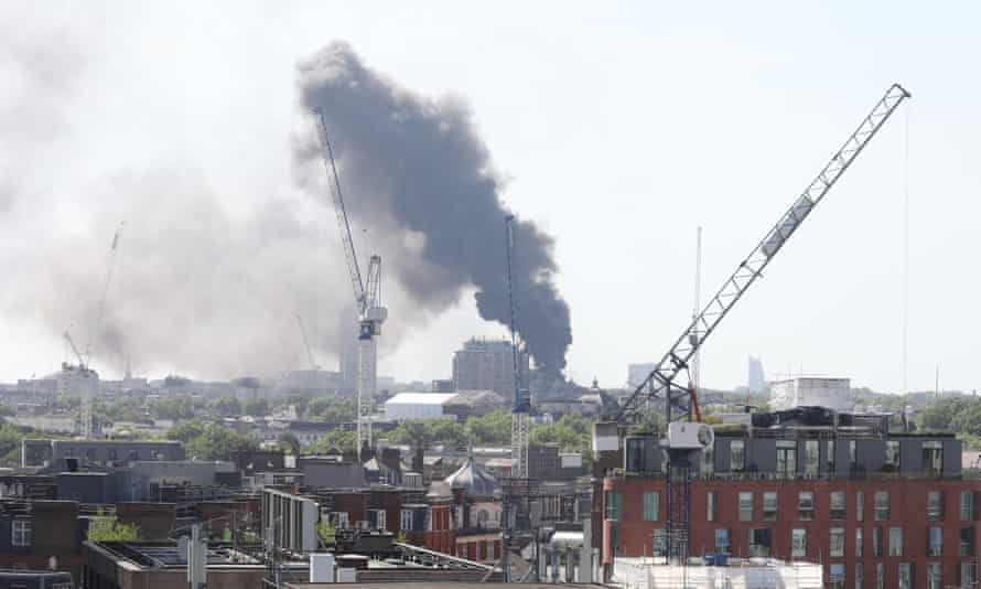 Plumes of smoke from the fire were visible across the capital.