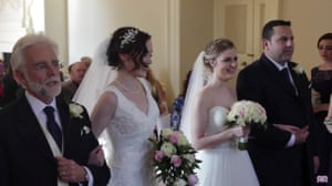 Wedding day … Rose with her father, left, and Rosie with her stepdad.