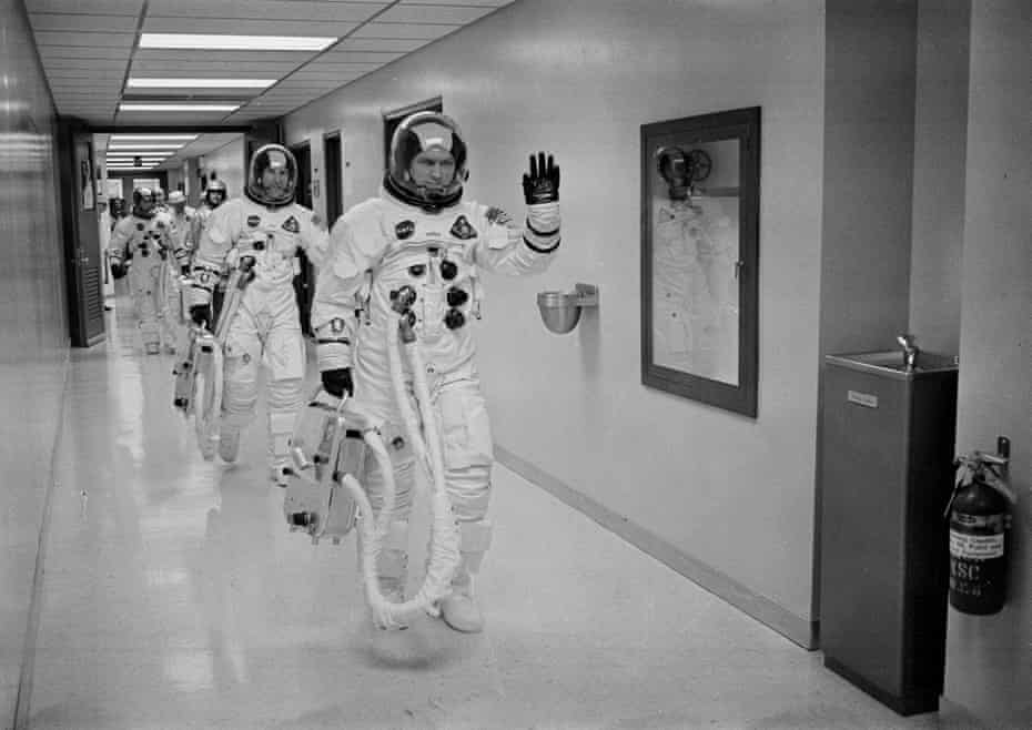 Frank Borman leads the way as he and fellow Apollo 8 astronauts James A Lovell Jr and William A Anders head to the launch pad in 1968.