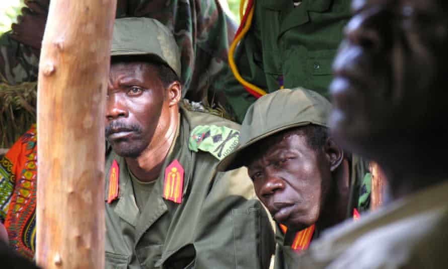 Joseph Kony (left) in Garamaba, Democratic Republic of Congo, in 2006.