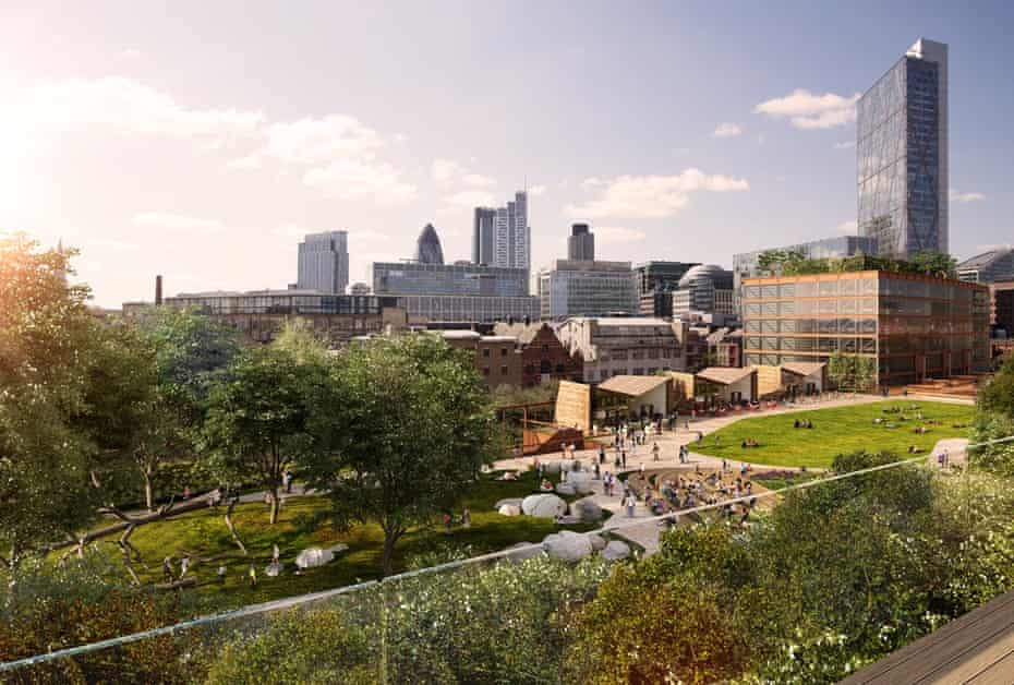 The Goods Yard in Shoreditch: a render of how the public space will look