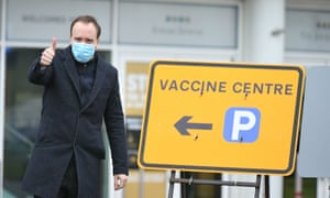 Matt Hancock, the health secretary, visiting the new mass vaccination centre at Epsom racecourse this morning.