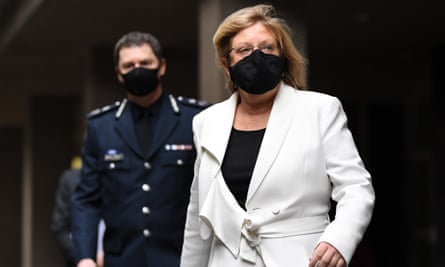 Victoria's police minister, Lisa Neville, right, told a Covid-19 inquiry on Wednesday officers had issued 19,324 fines during the coronavirus pandemic