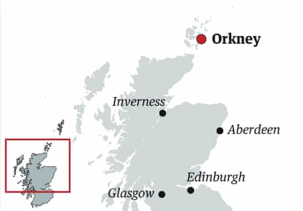 Mapa localizador de las orcadas