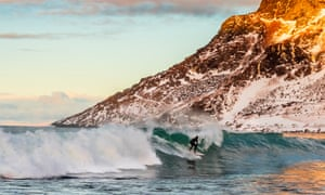 Arctic surfing, Unstad Beach, Lofoten Islands, Arctic, Northern Norway.