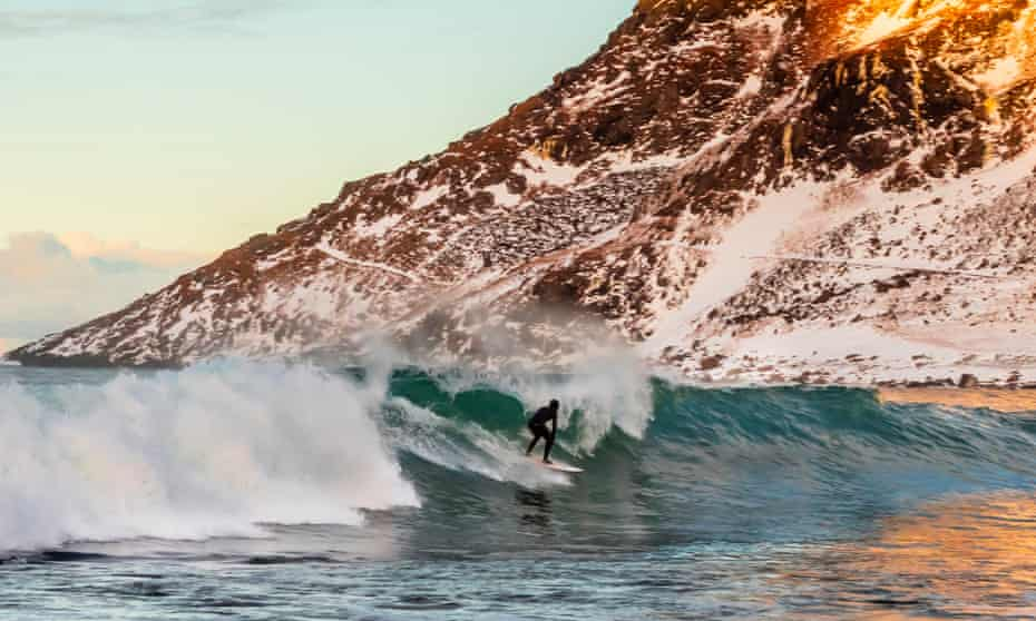 Surfing in the Lofoten islands