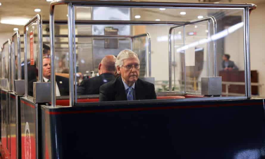 Mitch McConnell arrives in a Senate subway car for a vote last week.