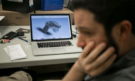 The design for a 3D printable gun that Cody Wilson, right, was ordered to take down from the Internet.